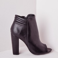 QUILTED PEEP TOE HEELED ANKLE BOOTS
