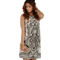Ivory Abstract Print Shift Dress