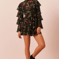 Semi-Sheer Floral Tiered Flounce Dress