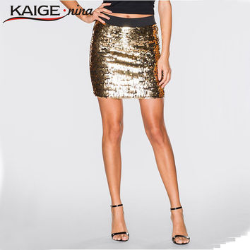Ladies Sequin Metallic Bodycon Pencil Skirt