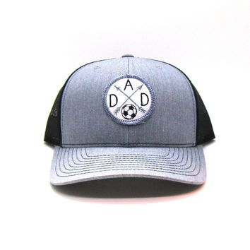 Sport Dad Hat - Gray and Black Snapback with Soccer Patch