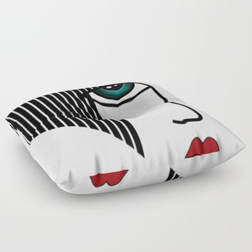 Retro Girl Floor Pillow by Salome