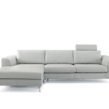 Angela Sectional Gray Leather Chaise on left when facing