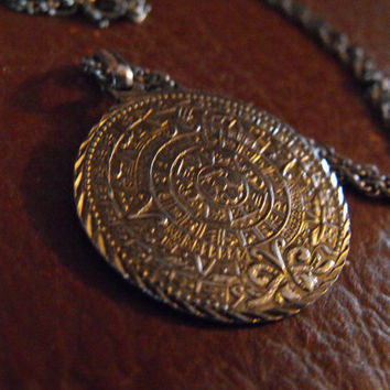Mayan Calendar Pendant Necklace Sterling by GiltyGirlVintage