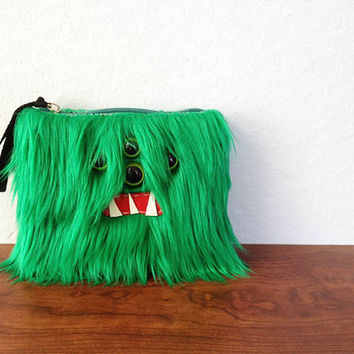 Small Emerald Monster Pouch Four Green Eyes by ShopGhoulieGirls