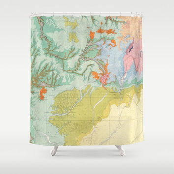 Southwest Map Shower curtain - South west states - pastel,  travel decor - home - Bathroom - maps, peach, mint, soft yellow, topographic