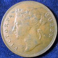 British Malaya Coin,Britain Victoria Coin,1897 1 Cent Coin,UK Collectible Coin, Vintage UK Coin, British Copper Coin, Straights  Settlements