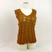 Gold Tunic Tank Top Lace Bronze Boho Summer Fashion Cute Cover Up Size 6 thru 8