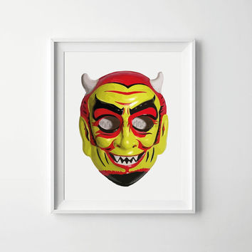 Halloween Printable, Devil Halloween Poster, trick or treat, Halloween Decoration, halloween art, Scary Halloween Mask Print, Halloween Mask