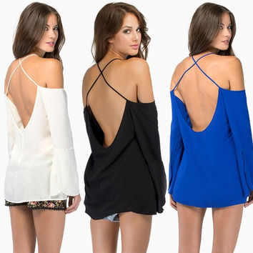 Sexy Women Summer Loose Casual Off-shoulder Chiffon Long Sleeve Vest Shirt Backless Halter Wrap Tops Blouse Pullover F_F