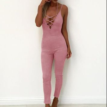 Pink Straps Harness Slim Conjoined Pants Women