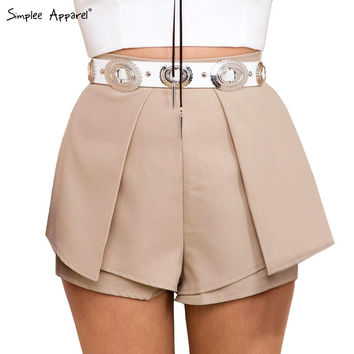 Boho pleated white chiffon sport shorts women Summer style high waist sexy fitness nude shorts Beach black girls shorts skirts