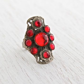 Vintage Art Deco Red Rhinestone Filigree Ring - Antique 1930s Brass Adjustable Signed Nemco Costume Jewelry / Ruby Red Shield Cocktail Ring