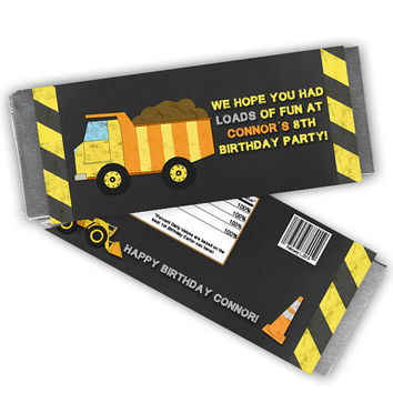 Construction Candy Bar Wrapper - Chalk Dump Truck Birthday Party Favors - Boy Party Favor -  Digger Zone - Candy Bar - Personalized Candy