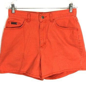 Lee Riveted Jeans Shorts Vintage Neon Orange USA Union High Waist Womens 12 M - Preowned