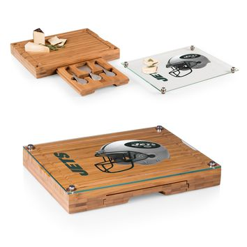 New York Jets 'Concerto' Glass Top Cheese Board & Tools Set-Bamboo Digital Print