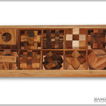 10 Puzzle Set, Game Set in a Wooden Box, Wooden Games, Kids Puzzles, Christmas Gifts