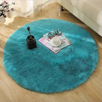 Soft Fluffy Thick Velvet Round Carpet 80*80cm Anti-skid Toilet Floor Mat Bedroom Kitchen Doormat Carpet For Living Room Yoga Mat