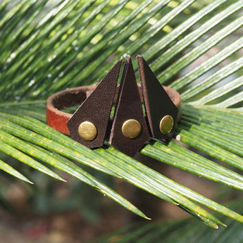 Leather Cuff Bracelet - wrist band handmade, triangle, minimalist cuff, art, style, modern, holidays, Quirky, happy #Brown