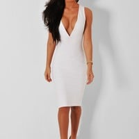Provocative White V-Neck Bandage Midi Dress | Pink Boutique