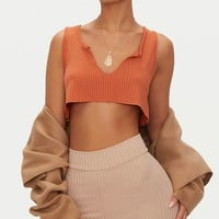 Burnt Orange Rib Deep V Raw Edge Crop Top