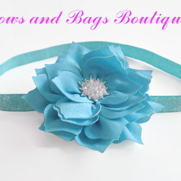 Girls headband - teal chiffon flower  rhinestone centre, teal blue glitter headband, toddler headband, hair accessories,newborn photo prop