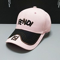 FENDI Summer Casual Embroidery Sports Sun Hat Baseball Cap Hat Light Pink