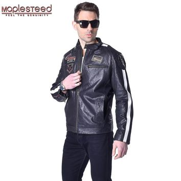 Factory Genuine Vegetable Tanned Sheepskin Quilted Leather Jacket Men Leather Jacket Soft Quilted Jacket Men Coat Winter ZH048