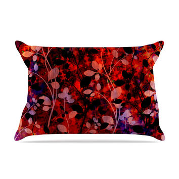 "Ebi Emporium ""Amongst the Flowers - Summer Nights"" Red Black Pillow Case"
