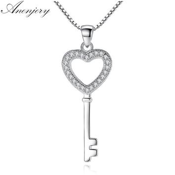 Anenjery 925 Sterling Silver Jewelry CZ Zircon Crystal Love Heart Key Pendant Necklace For Women Gift 45cm Chain collares S-N74