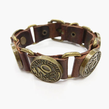 Fashion Punk  Adjustable Leather Wristband Cuff Bracelet - Great for Men, Women, Teens, Boys, Girls 2736s