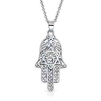 Hamsa Hand Star OF David Filigree Pendant Necklace CZ Sterling Silver