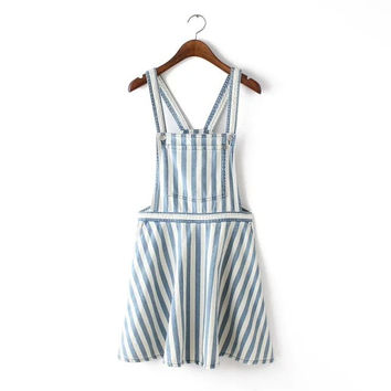 Denim Stripe Straps Pocket Dress