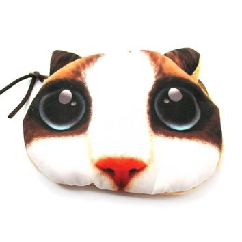 White Kitty Cat Face with Huge Eyes Shaped Soft Fabric Zipper Coin Purse Make Up Bag