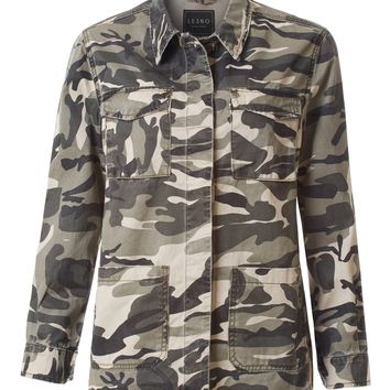 LE3NO Womens Lightweight Button Down Military Denim Jacket with Pockets
