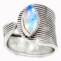 Moonstone Sterling Silver Adjustable Ring