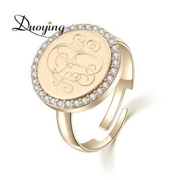Duoying 15 mm Monogram A-N Letter Rings Traditional Gold Coin Ring Cubic Zircon Custom Initial Name Personalized Rings for Etsy