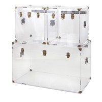 IMAX Stunning Preston Acrylic Coffee Table and Accent Trunks (Set of 3)
