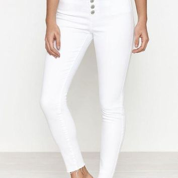 ICIKJH6 Bold White Exposed Button High Rise Jeggings