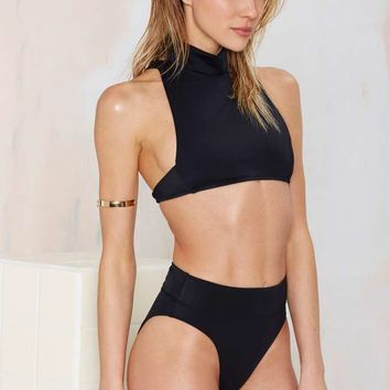Nasty Gal Deep Water High-Waisted Bikini Bottom