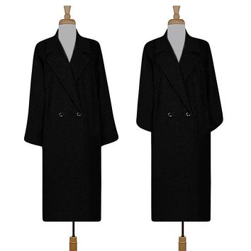 Womens Wool Coat- Winter Coat- Maxi Coat- Long Black Coat- Pea Coat Overcoat- Formal Coat