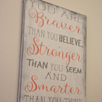 Girls Nursery Coral Nursery You Are Braver Than You Believe Stronger Than You Seem And Smarter Than You Think Winnie The Pooh Shabby Chic
