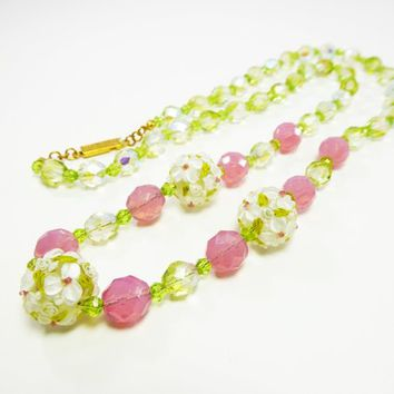 Mod Pink & Green Beaded Necklace w/ Three Molded Flower Power Beads with White Flowers,  Mid Century MOD Vintage 1960s 1970s, Opera Length