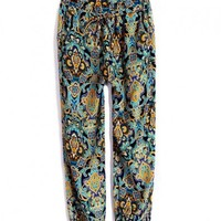 Ethnic Style Print Harem Trousers with Tie Waist