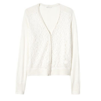 Rebecca Taylor Lace Inset Cardigan