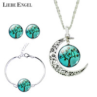 Vintage Silver Color Jewelry Sets Tree Picture Glass Moon Necklace Stud Earrings Bracelet Bangle Sets Women Christmas Gift