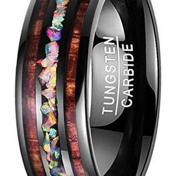 CERTIFIED 8MM Handmade Genuine Crushed Fire Opal Tungsten Wedding Ring