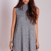 Missguided - High Neck Swing Dress Grey