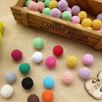 1pc 2017 Crochet Wooden Beads 18mm Coffee Purple Light Blue Knitted Wood Beads Accessories For Bracelets Necklaces Dropshipping