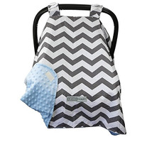 13 DESIGNS-Largest Car Seat Canopy Cover by CRAZZIE (Cool Weather Zigzag Grey/blue) SEE ALL DESIGNS